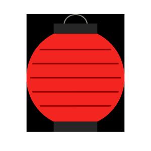 提灯(赤・丸型)のシンプルイラスト