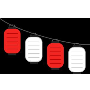 連なった提灯(赤、白)のシンプルイラスト