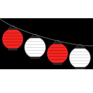 連なった提灯(赤、白・丸型)のシンプルイラスト