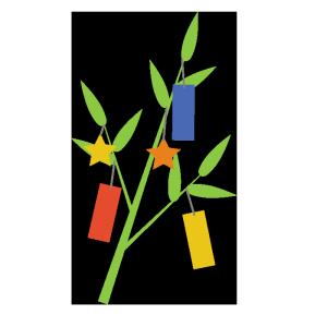 笹の葉(短冊付き)のシンプルイラスト