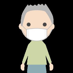 マスクを着用する人(男性)のシンプルイラスト