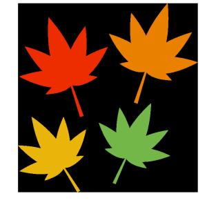 もみじ(赤、オレンジ、黄色、緑)のシンプルイラスト