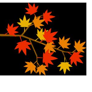 もみじの枝のシンプルイラスト