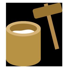 餅つきのシンプルイラスト