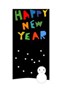 年賀状-シンプルテンプレート(雪と雪だるま)
