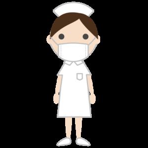 マスクを着用する看護師・ナースのシンプルイラスト