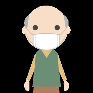 マスクを着用する高齢者(男性)のシンプルイラスト