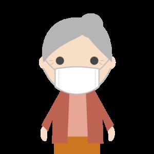 マスクを着用する高齢者(女性)のシンプルイラスト