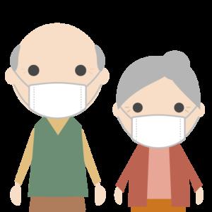 マスクを着用する高齢者のシンプルイラスト