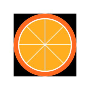 オレンジ(輪切り)のシンプルイラスト