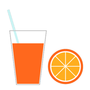 オレンジジュースのシンプルイラスト