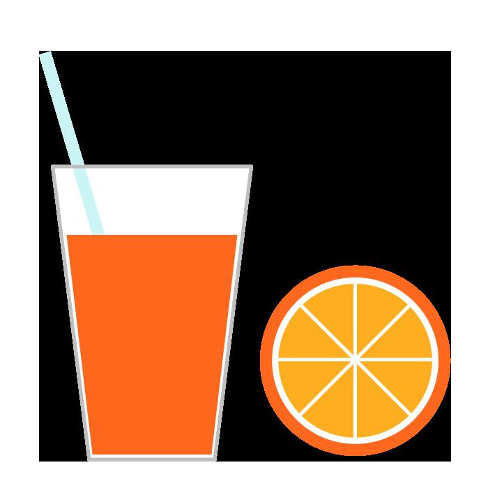 オレンジジュースのシンプルイラスト 無料 イラストk
