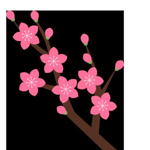 桃の花(枝)のシンプルイラスト
