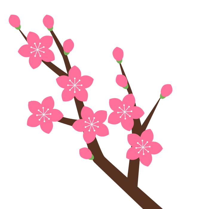 桃の花枝のシンプルイラスト 無料 イラストk
