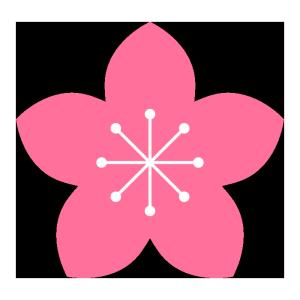 桃の花のシンプルイラスト