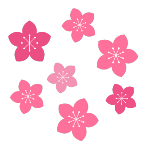 桃の花のシンプルイラスト02