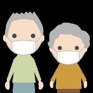 マスクを着用する人のシンプルイラスト