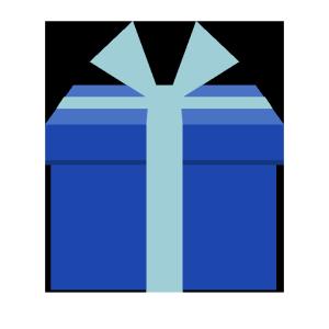 プレゼント(青)のシンプルイラスト
