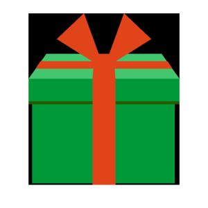 プレゼント(緑)のシンプルイラスト