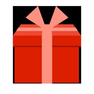 プレゼント(赤)のシンプルイラスト