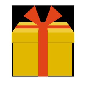 プレゼント(黄色)のシンプルイラスト