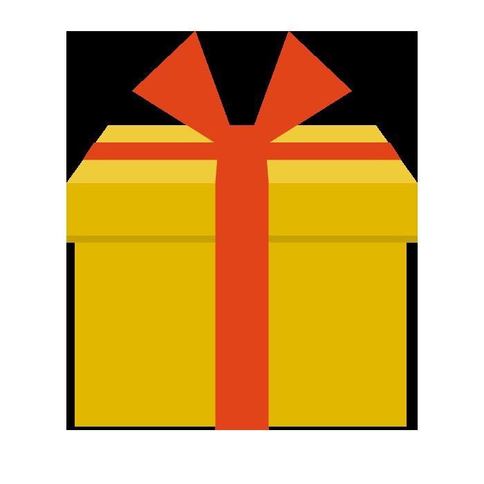 プレゼント黄色のシンプルイラスト 無料 イラストk