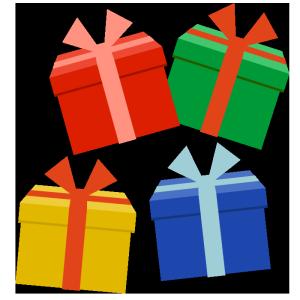 たくさんのプレゼントのシンプルイラスト