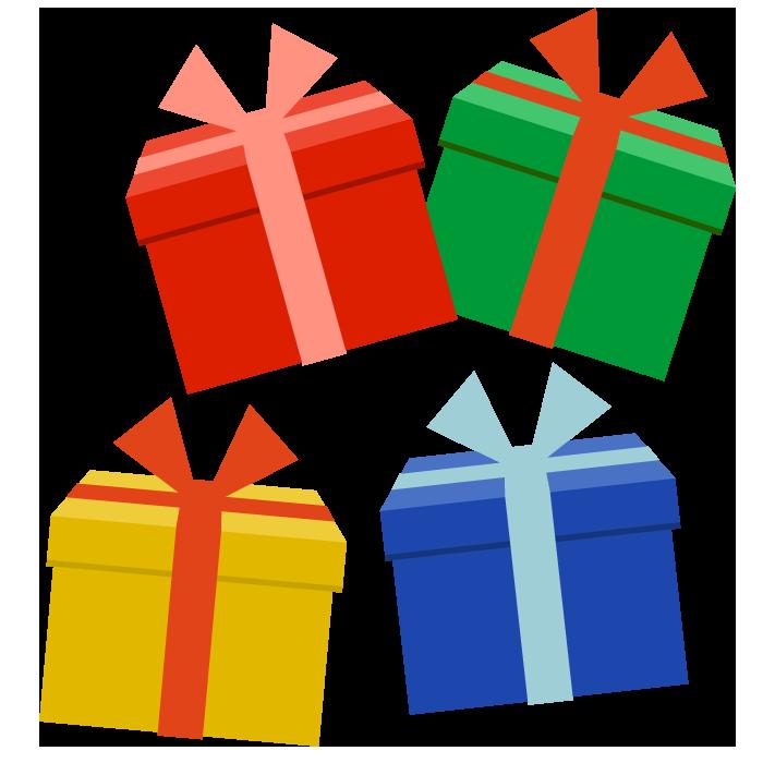 たくさんのプレゼントのシンプルイラスト 無料 イラストk