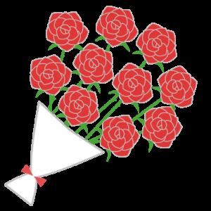 バラの花束のシンプルイラスト