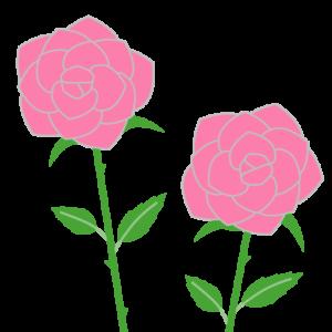 バラ(ピンク)のシンプルイラスト02