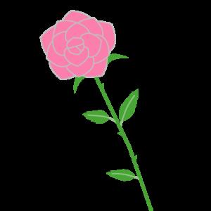 バラ(ピンク)のシンプルイラスト03