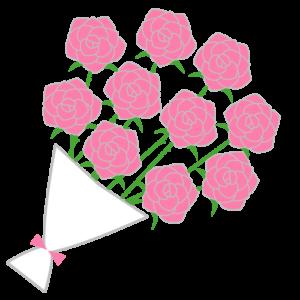 バラの花束(ピンク)のシンプルイラスト