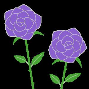 バラ(紫)のシンプルイラスト02