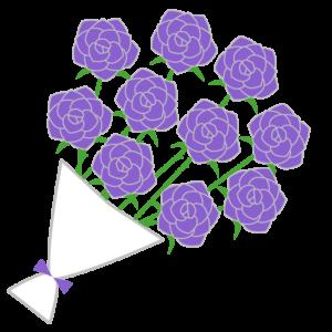 バラの花束(紫)のシンプルイラスト