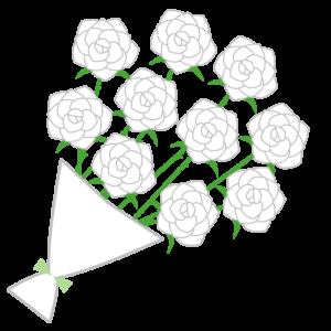 バラの花束(白)のシンプルイラスト