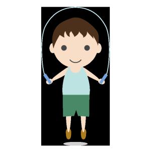 縄跳びをする男の子のシンプルイラスト