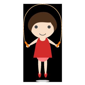 縄跳びをする女の子のシンプルイラスト