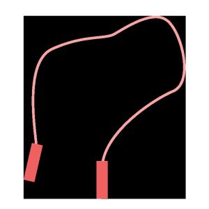 縄跳び(赤)のシンプルイラスト