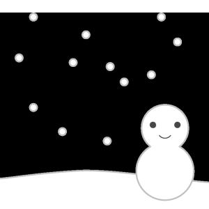 雪と雪だるまのシンプルイラスト