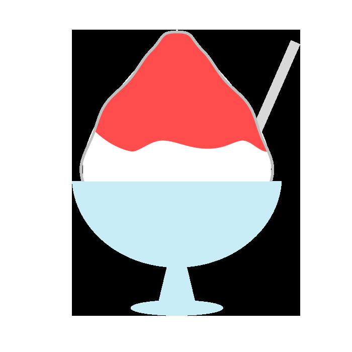 かき氷いちごのシンプルイラスト 無料 イラストk