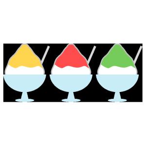 かき氷(レモン、いちご、メロン)のシンプルイラスト