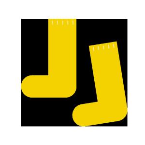 靴下(黄色)のシンプルイラスト