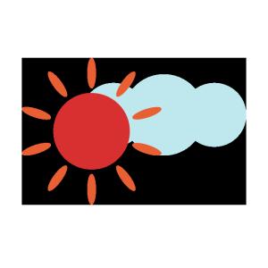 太陽と雲のシンプルイラスト