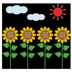 ひまわり畑のシンプルイラスト