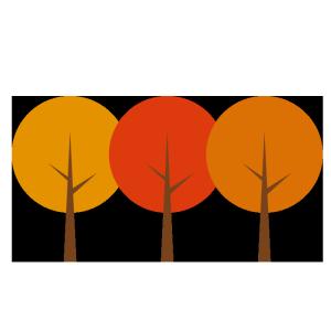 紅葉した木のシンプルイラスト