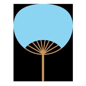 うちわ(水色)のシンプルイラスト