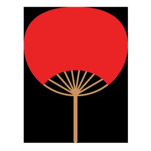 うちわ(赤)のシンプルイラスト