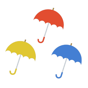 傘(赤、黄色、青)のシンプルイラスト