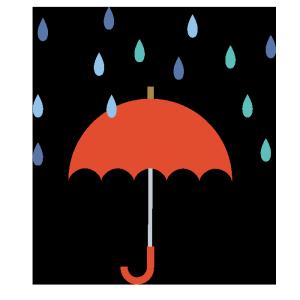 傘(赤)と雨のシンプルイラスト