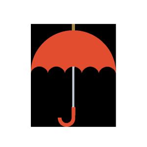 傘(赤)のシンプルイラスト